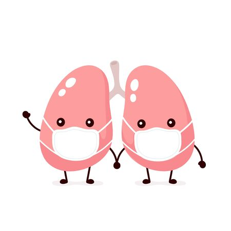 Cute lungs organ in medical mask. Vector flat cartoon character illustration icon design.Isolated on white background. Lungs health,medical mask concept