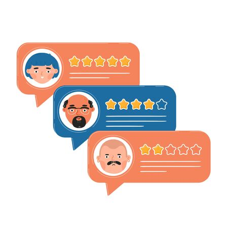 Review rating bubble speeches. Vector trendy style cartoon character illustration avatar icon design. Concept of decision, grading system, reviews stars rate and text Ilustracja