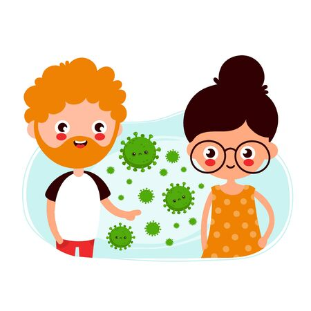 Cute young man and woman passing coronavirus by airborne transmission. Vector flat cartoon charater illustration. Isolated on white background Ilustrace