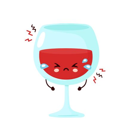 Sad cry wine glass. Vector cartoon character illustration icon design.Isolated on white background
