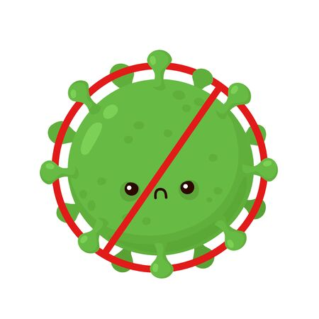 Cute angry corona virus in prohibition sign. Vector cartoon character illustration icon design.Isolated on white background