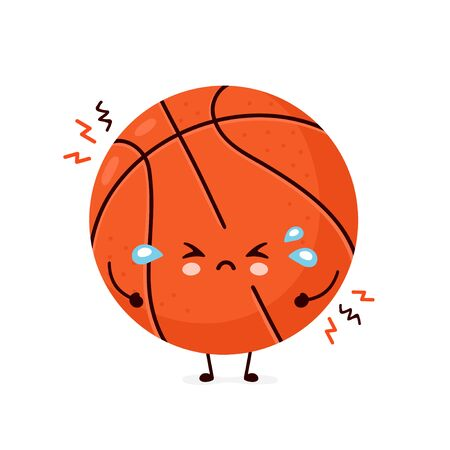 Cute sad cry basketball ball. Vector flat cartoon character illustration icon design.Isolated on white background. Sport,basketball ball concept