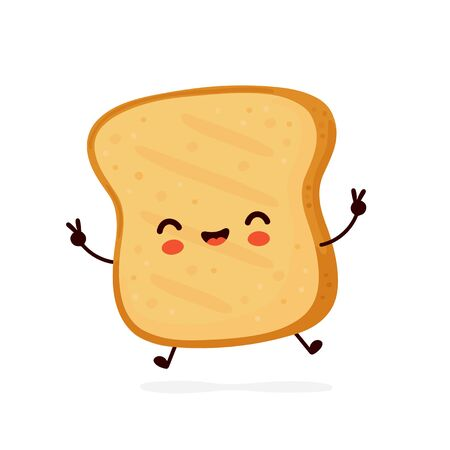 Cute happy funny toast. Vector cartoon character illustration icon design.Isolated on white background Ilustrace