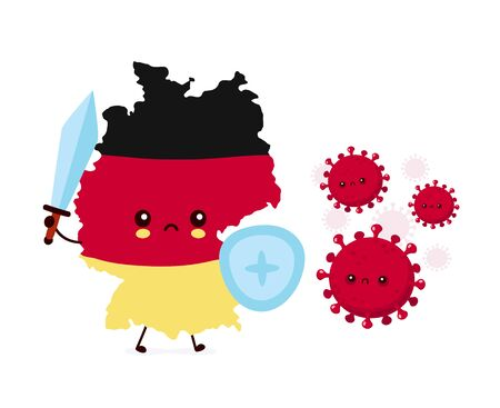 Cute Germany fight with coronavirus infection.Vector flat style cartoon character illustration