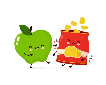 Cute happy smiling apple fight with chips pack. Vector cartoon character illustration icon design.Isolated on white background