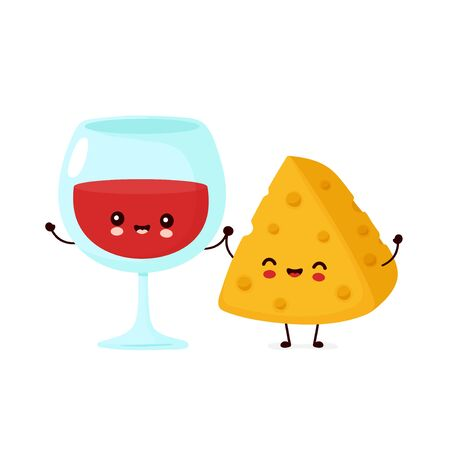 Cute happy smiling wine glass and cheese. Vector cartoon character illustration icon design.Isolated on white background Ilustracja