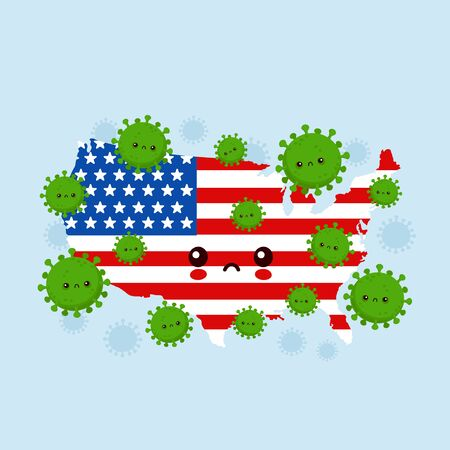 Cute sad USA attacked coronavirus infection.Vector flat style cartoon character illustration