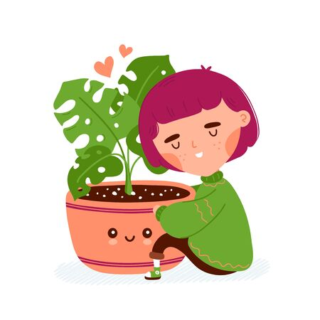 Cute happy smiling girl hug pot with plant. Vector flat cartoon character illustration icon design. Isolated on white background. Love plants concept