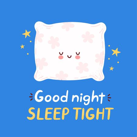 Cute happy funny pillow set collection. Vector cartoon character hand drawing style illustration. Good night sleep tight card
