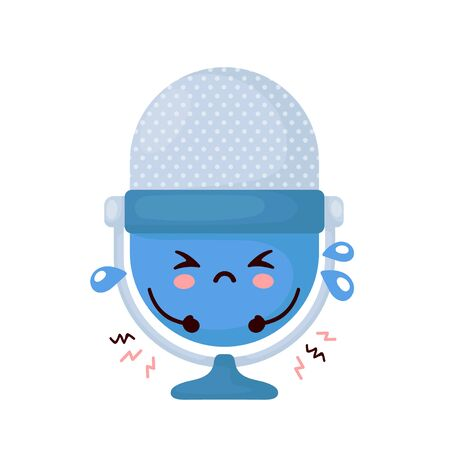Cute sad funny studio podcast microphone. Vector cartoon character illustration icon design.Isolated on white background 일러스트