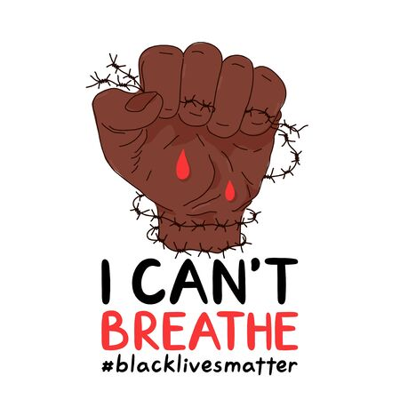 I Can't Breathe protest banner. Vector trendy style illustration poster design. Anti racism, human rights,Black Lives Matter concept Çizim