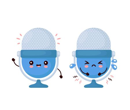Cute happy and sad funny studio podcast microphone. Vector cartoon character illustration icon design.Isolated on white background