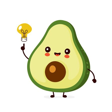 Cute happy funny avocado with light bulb. Vector cartoon character illustration icon design.Isolated on white background