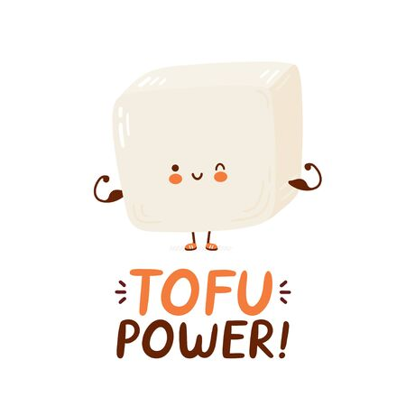 Cute happy funny tofu show muscle. Vector cartoon character hand drawing style illustration. Isolated on white background. Tofu power card