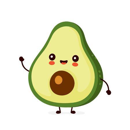 Nette glückliche lustige Avocado. Vektor-Cartoon-Charakter-Illustration-Icon-Design.Isolated auf weißem Hintergrund