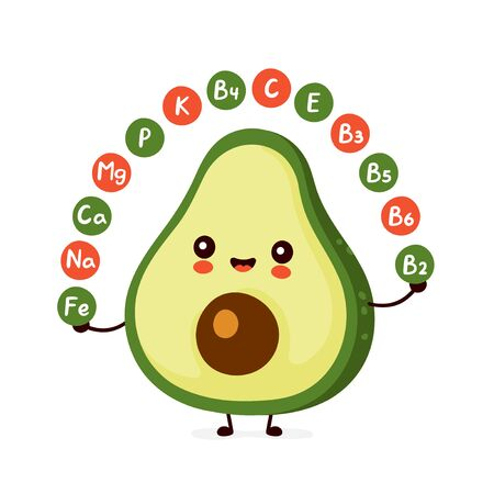 Cute happy funny avocado. Vitamins concept. Vector cartoon character illustration icon design.Isolated on white background