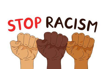 Detener la pancarta de protesta de racismo. Diseño de carteles de ilustración de estilo de moda de vector. Anti racismo, concepto de derechos humanos