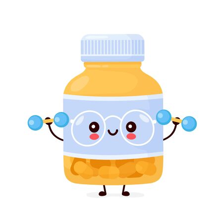 Cute happy funny pill bottle with dumbbells. Vector cartoon character illustration icon design.Isolated on white background