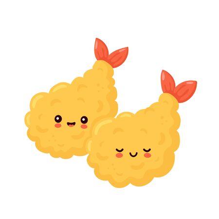 Cute happy funny tempura shrimp couple. Vector cartoon character illustration icon design.Isolated on white background