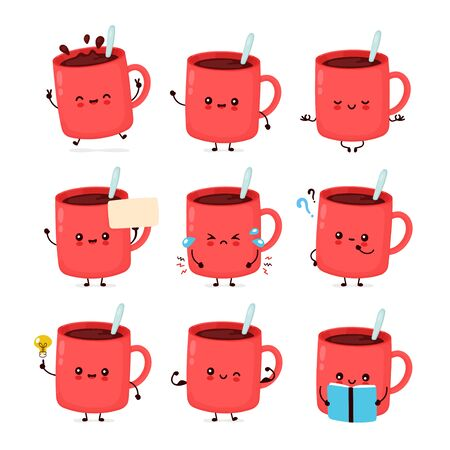 Cute happy funny coffee mug set collection. Vector cartoon character illustration icon design.Isolated on white background