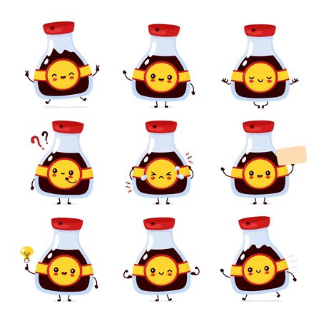 Cute happy funny soy sauce bottle set collection. Vector cartoon character illustration icon design.Isolated on white background