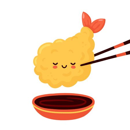 Cute happy funny tempura shrimp in chopsticks and soy sauce. Vector cartoon character illustration icon design.Isolated on white background Ilustracja