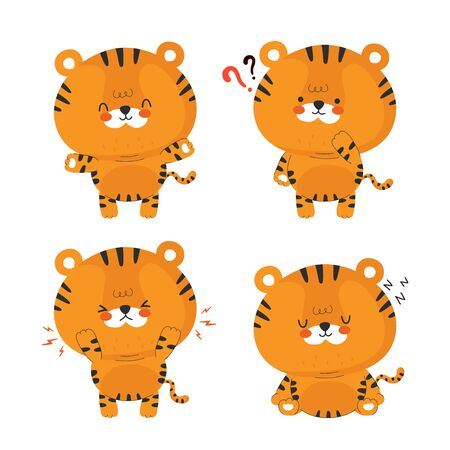 Cute funny little tiger set collection. Vector cartoon character illustration icon design.Isolated on white background