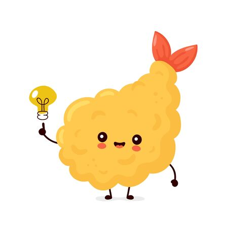 Cute happy funny tempura shrimp with light bulb. Vector cartoon character illustration icon design.Isolated on white background Vektorové ilustrace