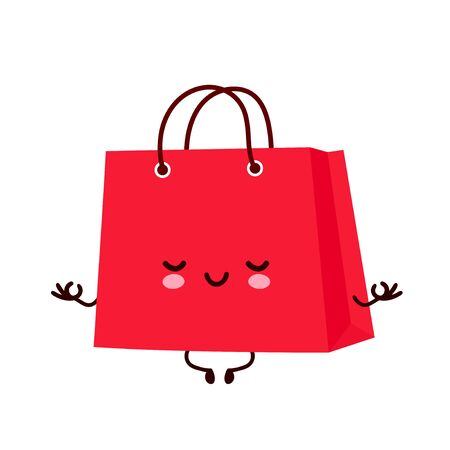 Cute happy funny shopping bag meditate in yoga pose. Vector cartoon character illustration icon design.Isolated on white background