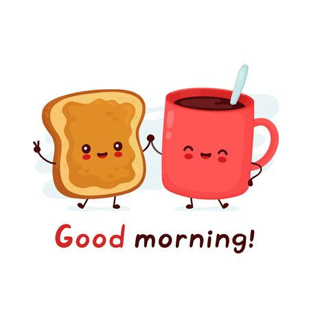 Cute happy funny coffee mug and toast with peanut butter. Good morning card. Vector cartoon character illustration icon design.Isolated on white background