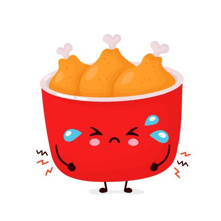 Cute sad funny fried chicken bucket. Vector cartoon character illustration icon design.Isolated on white background