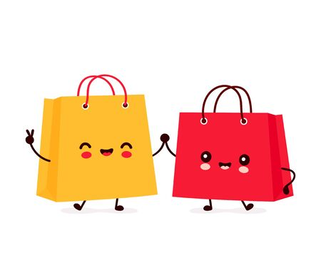 Cute happy funny shopping bags. Vector cartoon character illustration icon design.Isolated on white background