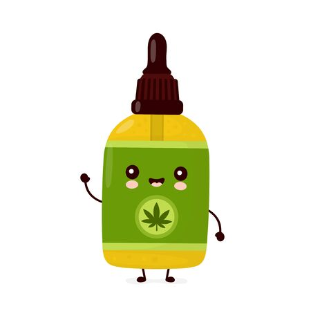 Cute happy funny cannabis CBD oil bottle. Vector cartoon character illustration icon design.Isolated on white background
