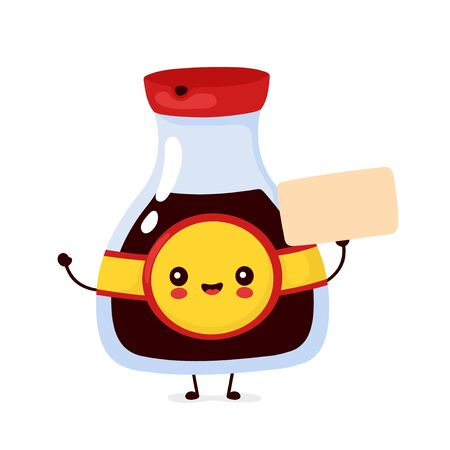 Cute happy funny soy sauce bottle with empty sign. Vector cartoon character illustration icon design.Isolated on white background