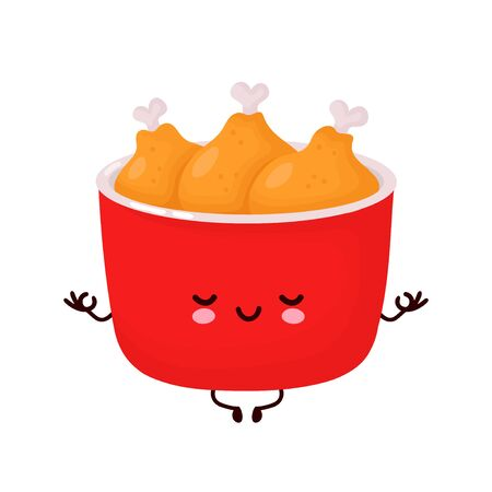 Cute happy funny fried chicken bucket meditate. Vector cartoon character illustration icon design.Isolated on white background  イラスト・ベクター素材