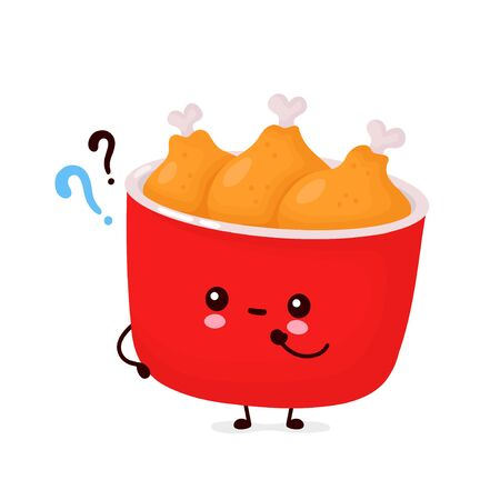 Cute happy funny fried chicken bucket with question marks. Vector cartoon character illustration icon design.Isolated on white background  イラスト・ベクター素材