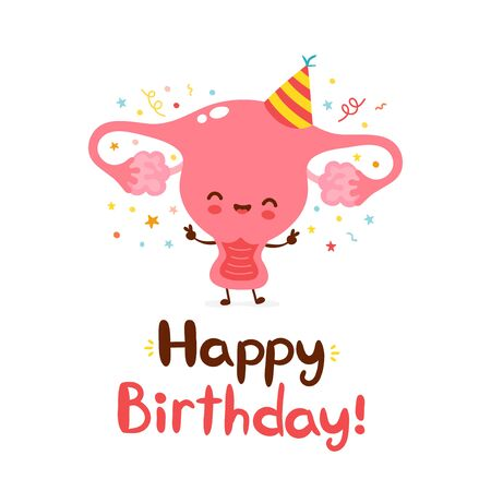 Cute funny uterus organ. Happy birthday hand drawn style card.Vector flat cartoon character illustration icon design.Isolated on white background  イラスト・ベクター素材