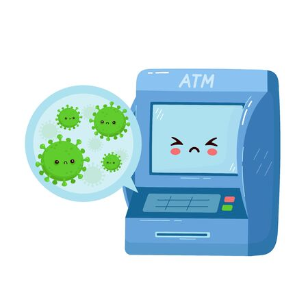 Cute ATM with viruses on buttons. Vector flat cartoon character illustration.Isolated on white background