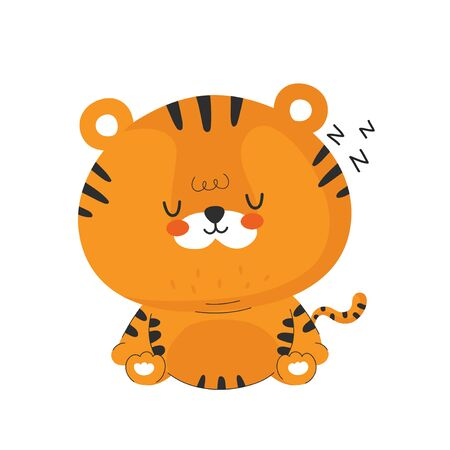 Cute funny sleep little tiger. Vector cartoon character illustration icon design.Isolated on white background