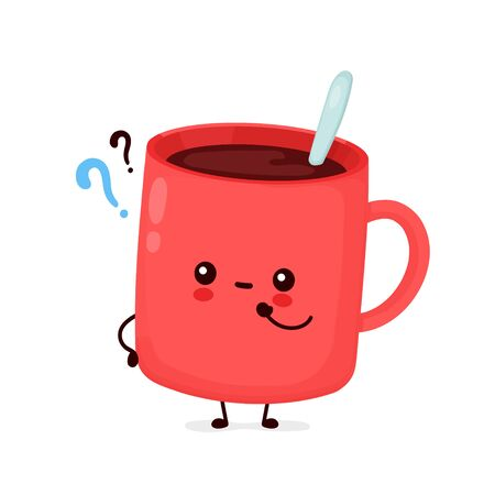 Cute funny coffee mug with question mark. Vector cartoon character illustration icon design.Isolated on white background