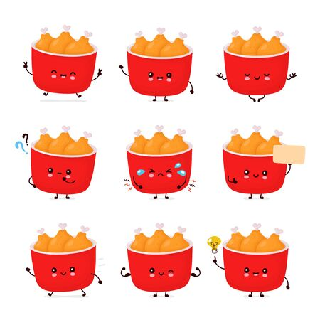 Cute happy funny fried chicken bucket set collection. Vector cartoon character illustration icon design.Isolated on white background