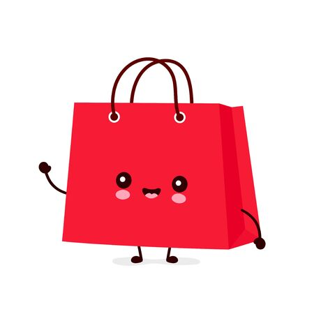 Cute happy funny shopping bag. Vector cartoon character illustration icon design.Isolated on white background