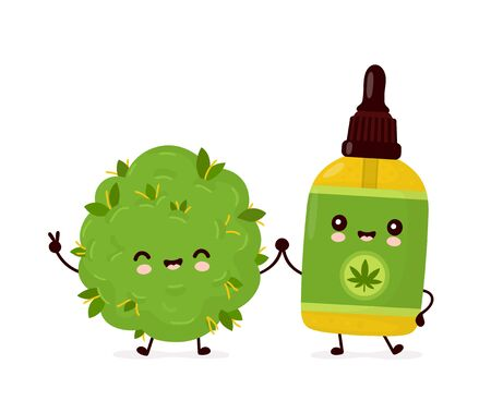 Cute happy funny cannabis CBD oil bottle and weed bud. Vector cartoon character illustration icon design.Isolated on white background