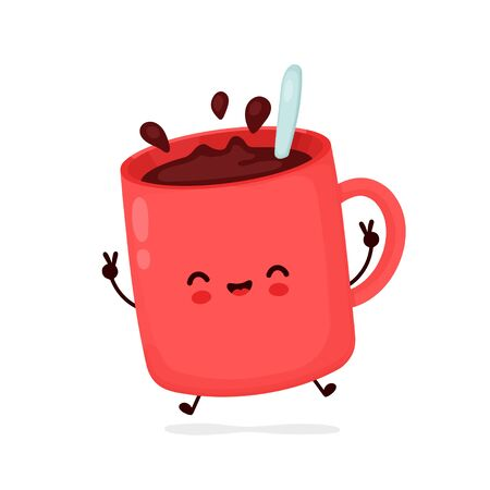 Cute happy funny coffee mug. Vector cartoon character illustration icon design.Isolated on white background
