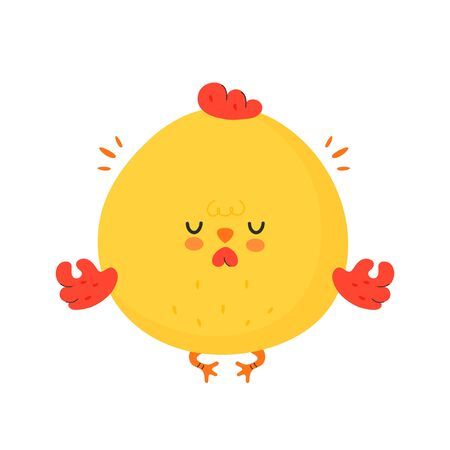 Cute funny chicken cock meditate. Vector cartoon character illustration icon design.Isolated on white background Illustration