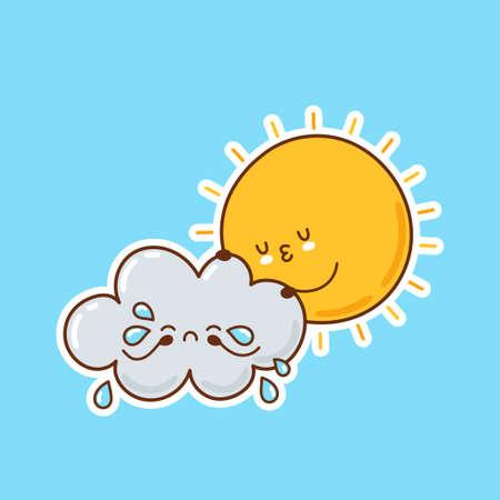 Cute funny sun hugs crying cloud. Vector cartoon character illustration icon design