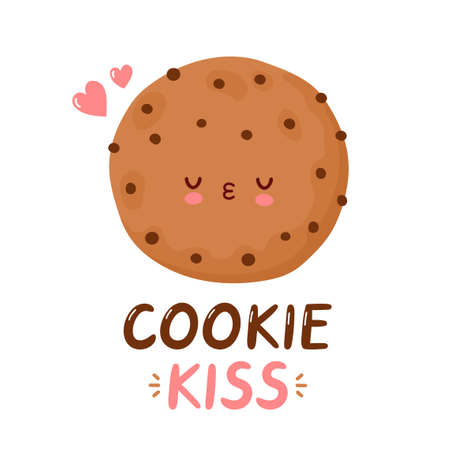 Cute funny cookie. Vector cartoon character hand drawing style illustration. Isolated on white background. Cookie kiss card
