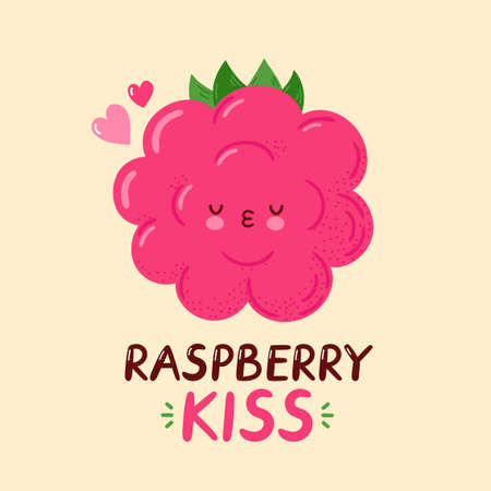 Cute happy funny raspberry. Vector cartoon character hand drawing style illustration. Isolated on white background. Raspberry kiss card