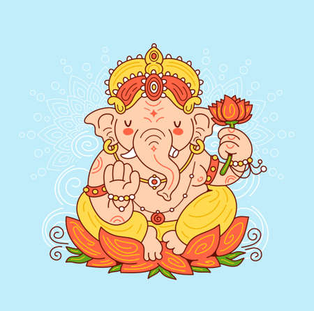 Ganesh indian god character. Vector cartoon character illustration