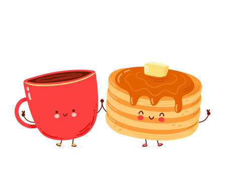 Cute happy funny pancakes and coffee mug. Isolated on white background. Vector cartoon character hand drawn style illustration
